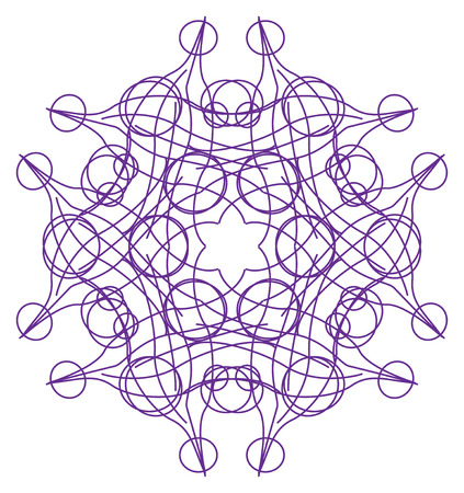 tracery: Violet six-sided abstract tracery pattern on white in the Tracery pattern collection