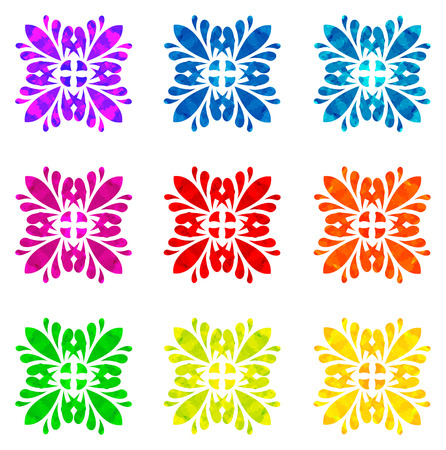 the four elements: Set of nine abstract flowers of four elements with polygonal pattern on white background in the Watercolour pattern collection