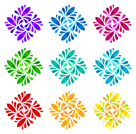 watercolour: Set of nine abstract flowers of four elements with polygonal pattern on white background in the Watercolour pattern collection