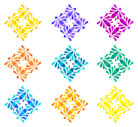 four elements: Set of nine abstract flowers of four elements with polygonal pattern on white background in the Watercolour pattern collection