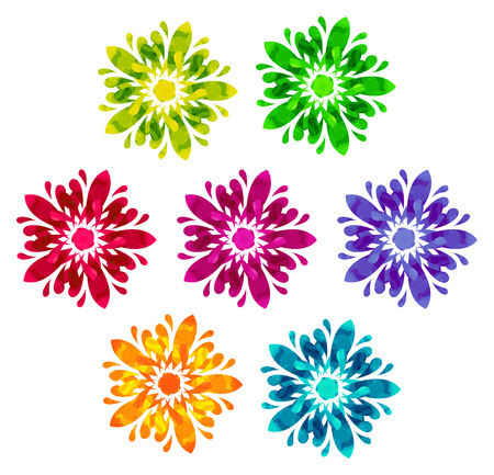 five elements: Set of seven abstract flowers of five elements with polygonal pattern on white in the Watercolour pattern collection