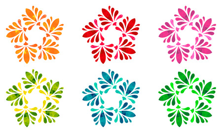 five elements: Set of six abstract flowers of five elements in different colors with polygonal pattern on white background in the Watercolour pattern collection