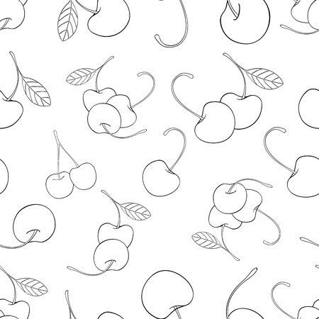 delightful: Seamless pattern of a lot of cherries on white background in the Delightful garden collection