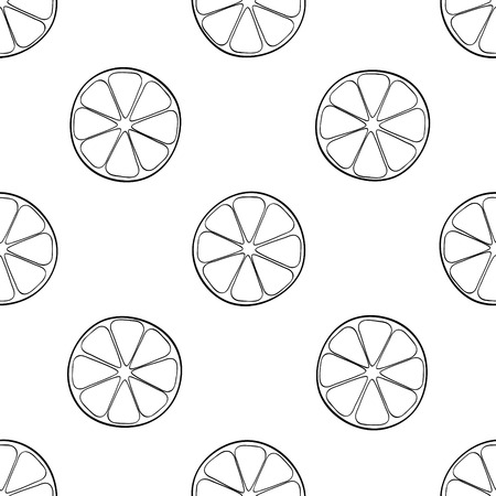 delightful: Seamless pattern of a lot of lemon slices on white background in the Delightful garden collection
