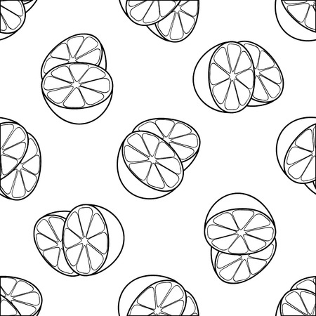 pleasing: Seamless pattern of two lemon halves on white background in the Delightful garden collection