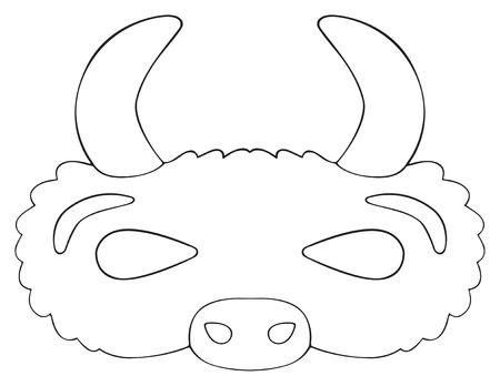 해피 홀리데이 컬렉션에서 흰색 배경에 뿔 프레리 버팔로의 마스크