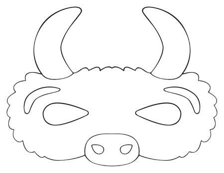 Mask of Prairie buffalo with horns on white background in the Happy holiday collection