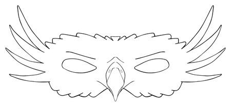 Máscara de águila real con un pico rapaz y mejillas de plumas sobre fondo blanco en la colección de fiesta feliz Foto de archivo - 40922313