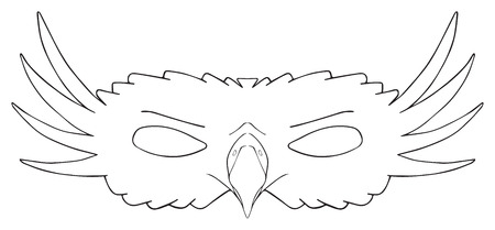 beak: Mask of Royal eagle with a rapacious beak and feathery cheeks on white background in the Happy holiday collection