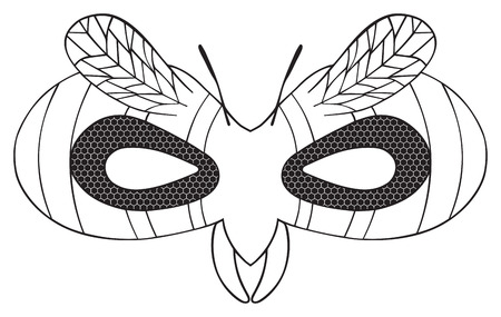facet: Mask of Striped wasp with black facet eyes and wings on white background in the Happy holiday collection