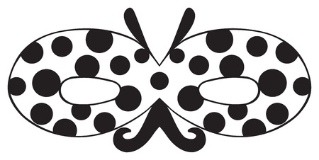 black dots: Mask of Ladybug with black dots and nice moustaches on white background in the Happy holiday collection Illustration