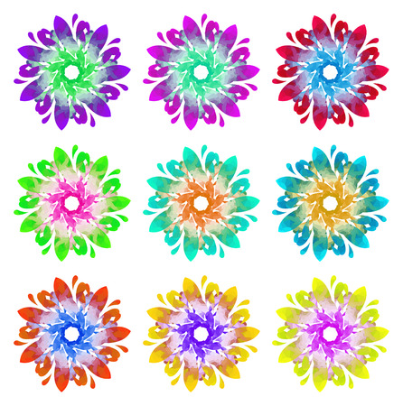 watercolour: Set of nine abstract flowers of seven elements with polygonal pattern on white background in the Watercolour pattern collection