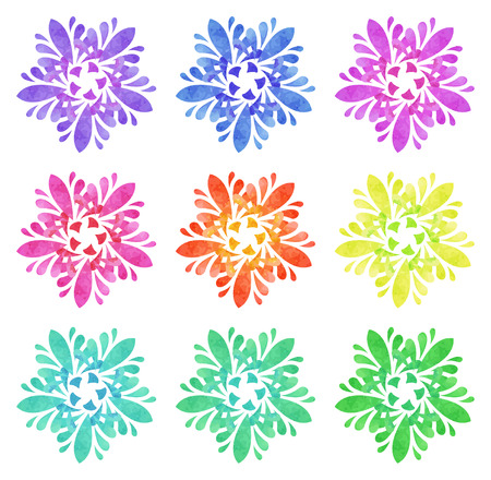 five elements: Set of nine abstract flowers of five elements with polygonal pattern on white background in the Watercolour pattern collection