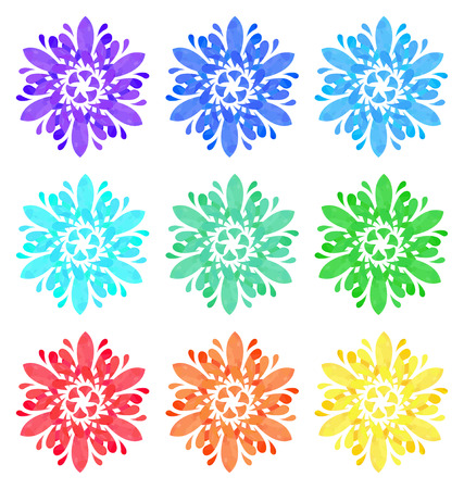 watercolour: Set of nine abstract flowers of six elements with polygonal pattern on white background in the Watercolour pattern collection