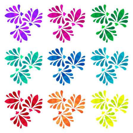 watercolour: Set of nine abstract flowers of three elements with polygonal pattern on white background in the Watercolour pattern collection