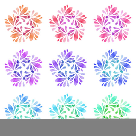watercolour: Set of nine abstract flowers of five elements with polygonal pattern on white background in the Watercolour pattern collection