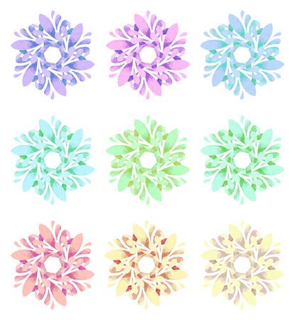 Set di nove fiori astratti di sei elementi con pattern poligonale su sfondo bianco nella collezione modello Acquerello Archivio Fotografico - 41191430