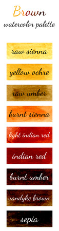 yellow ochre: Brown watercolor palette in the Watercolour pattern collection Illustration