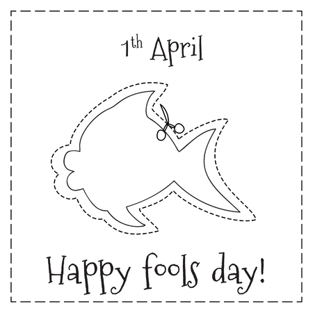 jokes: Poster with fish figure for first April fools day with Happy fools day text
