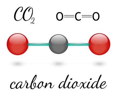 greenhouse gas: CO2 carbon dioxide molecule 3d representation and chemical formula Illustration