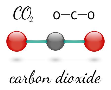 co2: CO2 carbon dioxide molecule 3d representation and chemical formula Illustration