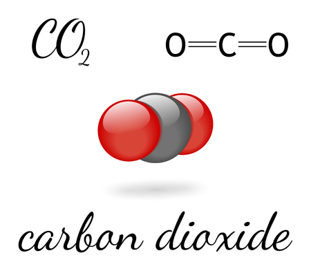CO2 carbon dioxide molecule 3d representation and chemical formula Illustration