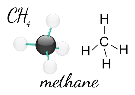 methane: CH4 methane 3d molecule isolated on white