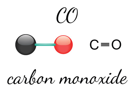 carbon monoxide: CO carbon monoxide 3d molecule isolated on white