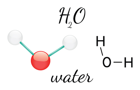 H2O water 3d molecule isolated on white Illustration