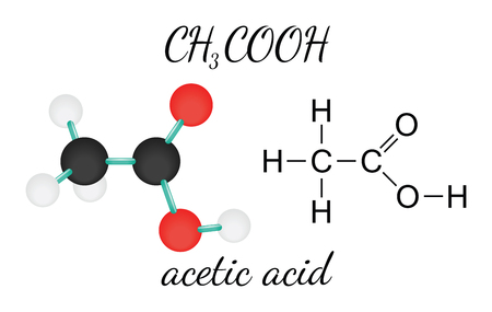 acetic: CH3COOH acetic acid 3d molecule isolated on white Illustration