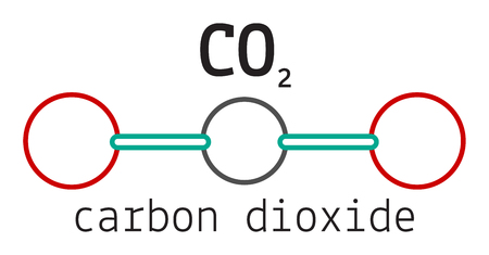 greenhouse gas: CO2 carbon dioxide molecule isolated on white Illustration