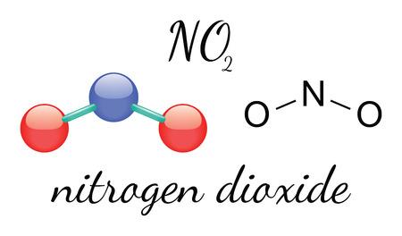 3d nitrogen: NO2 nitrogen dioxide 3d molecule isolated on white
