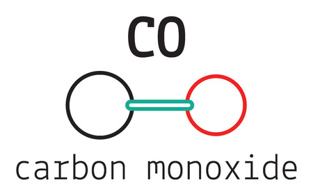 carbon monoxide: CO carbon monoxide molecule isolated on white Illustration