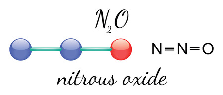 oxide: N2O nitrous oxide 3d molecule isolated on white Illustration