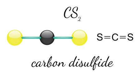 sulfide: CS2 carbon disulfide 3d molecule isolated on white Illustration