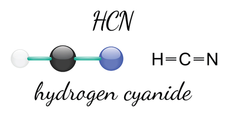 HCN hydrogen cyanide 3d molecule isolated on white Illustration