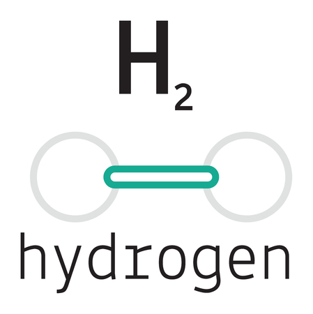 hydrogen: H2 hydrogen 3d molecule isolated on white