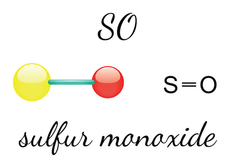 sulfur: SO sulfur monoxide 3d molecule isolated on white