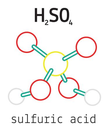 H2SO4 sulfuric acid 3d molecule isolated on white Ilustração