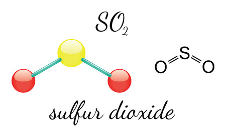 sulfur: SO2 sulfur dioxide 3d molecule isolated on white Illustration