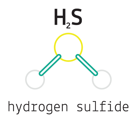 sulfide: H2S hydrogen sulfide 3d molecule isolated on white