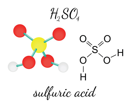 H2SO4 sulfuric acid 3d molecule isolated on white Illustration