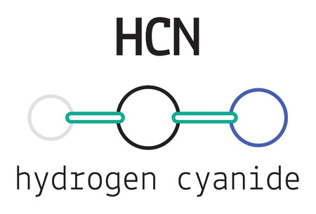 hydride: HCN hydrogen cyanide 3d molecule isolated on white Illustration
