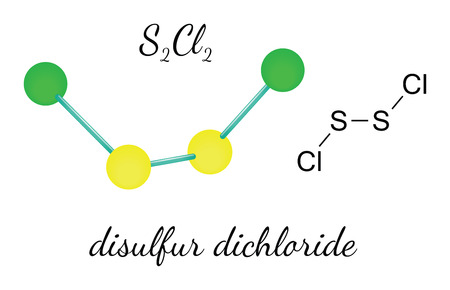 Cl2S2 disulfur dichloride 3d molecule isolated on white
