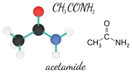 C2H5NO acetamide 3d molecule isolated on white