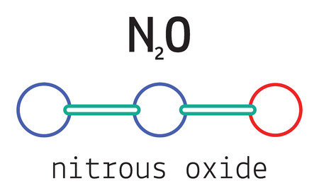 3d nitrogen: N2O nitrous oxide 3d molecule isolated on white Illustration