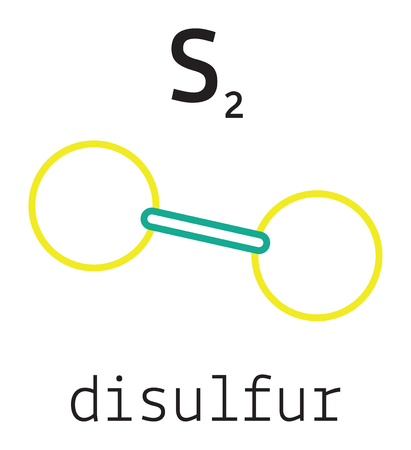 S2 disulfur 3d molecule isolated on white