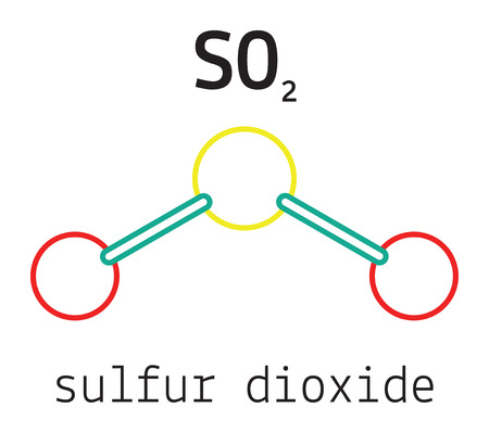 SO2 sulfur dioxide 3d molecule isolated on white Ilustração