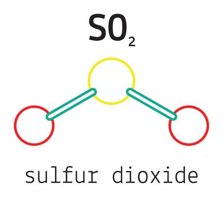 sulfur: SO2 sulfur dioxide 3d molecule isolated on white Illustration