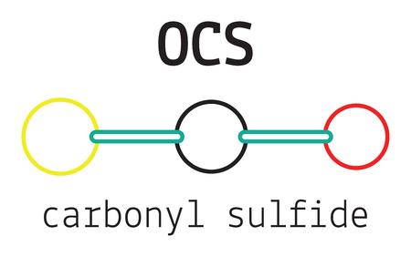 sulfide: OCS carbonyl sulfide 3d molecule isolated on white Illustration